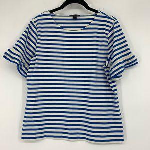 J Crew Ruffle Sleeve Striped Tee Shirt Blue White